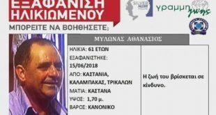 Silver alert για τον 61χρονο Αθανάσιο Μυλωνά από την Καστανιά Καλαμπακας