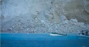 Η στιγμή της πτώσης του βράχου στο Ναυάγιο στη Ζάκυνθο