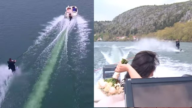 Γαμπρός έκανε θαλάσσιο σκι με την νύφη να του πετάει την ανθοδέσμη