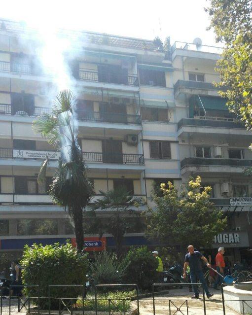 Έβαλαν φωτιά σε φοίνικα στην πλατεία Ρήγα Φερραίου στα Τρίκαλα
